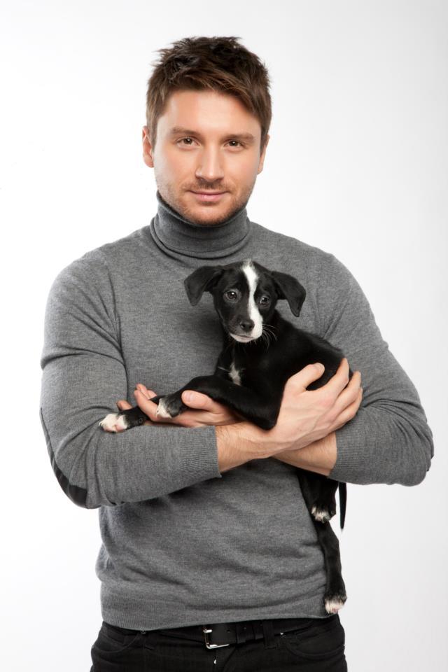Сергей Лазарев и щенок Дейзи из приюта